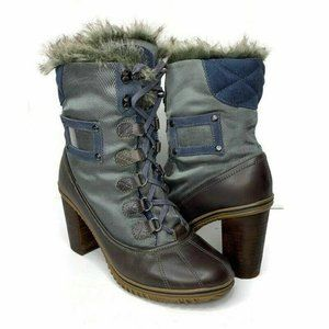 Pajar Heeled Leather Winter Boots Faux fur 9 9.5